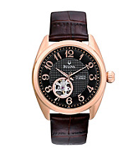 Bulova® Men's Mechanical Black and Rose Goldtone Watch