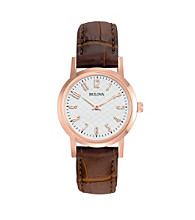 Bulova® Women's Rose Goldtone and Brown Leather Strap Watch