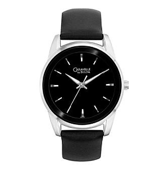 Caravelle® by Bulova Men's Black Leather Strap Watch