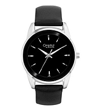 Caravelle® by Bulova Men's Black Leather Strap Watch