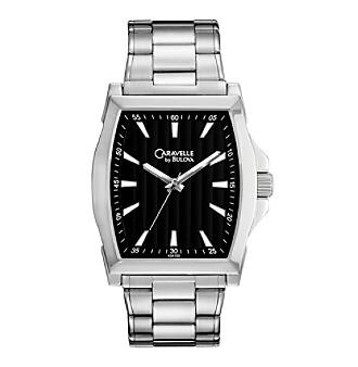 Caravelle® by Bulova Men's Black Dial Stainless Steel Bracelet Watch