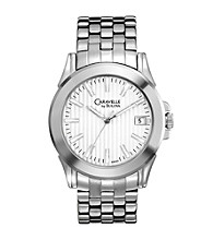 Caravelle® by Bulova Men's Silvertone and White Stainless Steel Watch