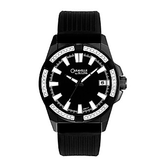 Caravelle® By Bulova Men's Black Crystal Watch
