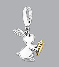 Sterling Silver Bunny Rabbit Charm with a 14K Gold Carrot
