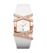 A|X Armani Exchange Women's White Rose Gold Glitz Logo Watch