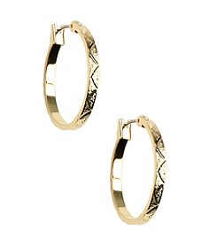 Napier® Small Textured Goldtone Hoop Earrings
