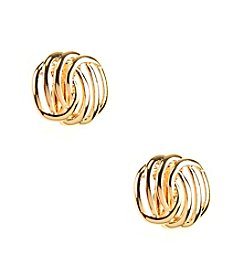 Napier® Small Woven Goldtone Button Clip-On Earrings