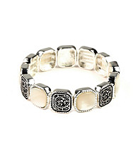 Napier® Silvertone and White Stone Stretch Bracelet
