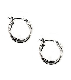 Napier® Small Twisted Silvertone Hoop Earrings