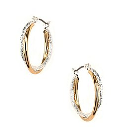 Napier® Two Tone Medium Hoop Earrings
