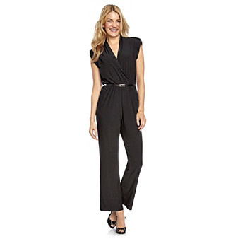 NY Collection Surplice Neck Black Jumpsuit