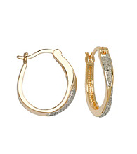 18K Gold-Plated Brass and Diamond Accent Hoop Earrings