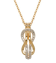 18K Gold-Plated Brass and Diamond Accent Knot Pendant