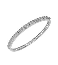 Rhodium-Plated Brass and Diamond Accent Bangle Bracelet