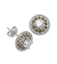 Rhodium-Plated Brass and Cubic Zirconia Stud Earrings