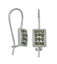 Rhodium-Plated Brass Marcasite Wire Earrings