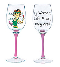 Wine Enthusiast My Workout Party Girl Wine Glass