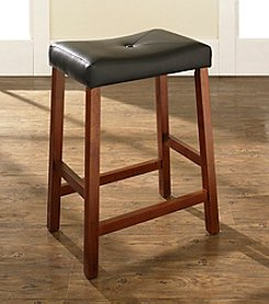 Crosley Furniture Set of 2 Upholstered Saddle Seat Bar Stools
