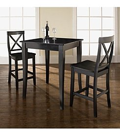 Crosley Furniture 3-pc. Pub Dining Set with Cabriole Leg & X-Back Stools
