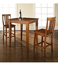 Crosley Furniture 3-pc. Pub Dining Set with Cabriole Leg & Shield Back Stools