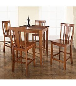 Crosley Furniture 5-pc. Pub Dining Set with Cabriole Leg & Shield Back Stools