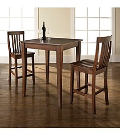 Crosley Furniture 3-pc. Pub Dining Set with Cabriole Leg & School House Stools