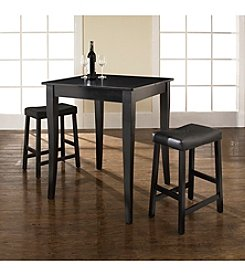 Crosley Furniture 3-pc. Pub Dining Set with Cabriole Leg & Upholstered Saddle Stools