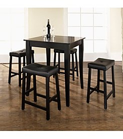 Crosley Furniture 5-pc. Pub Dining Set with Cabriole Leg & Upholstered Saddle Stools