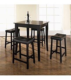 Crosley Furniture 5-pc. Pub Dining Set with Cabriole Leg & Upholstered Saddle Stools