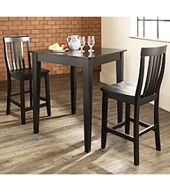 Crosley Furniture 3-pc. Pub Dining Set with Tapered Leg & School House Stools