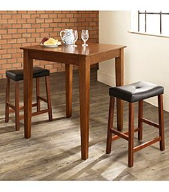 Crosley Furniture 3-pc. Pub Dining Set with Tapered Leg & Upholstered Saddle Stools
