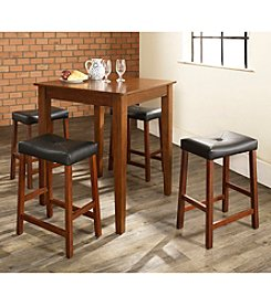 Crosley Furniture 5-pc. Pub Dining Set with Tapered Leg & Upholstered Saddle Stools