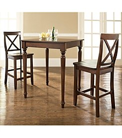 Crosley Furniture 3-pc. Pub Dining Set with Turned Leg & X-Back Stools