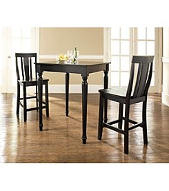 Crosley Furniture 3-pc. Pub Dining Set with Turned Leg & Shield Back Stools