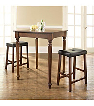 Crosley Furniture 3-pc. Pub Dining Set with Turned Leg & Upholstered Saddle Stools