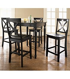 Crosley® Furniture 5-pc. Pub Dining Set with Turned Leg & X-Back Stools - Black