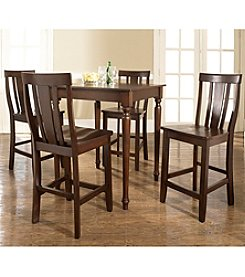 Crosley® Furniture 5-pc. Pub Dining Set with Turned Leg & Shield Back Stools - Mahogany