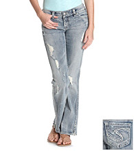 Silver Jeans Co. Frances Straight Fit Slim Low-Rise Medium Wash Bootcut Jeans