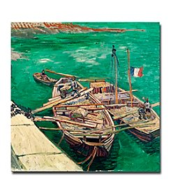 Trademark Fine Art Landing Stage with Boats 1888 by Vincent van Gogh Canvas