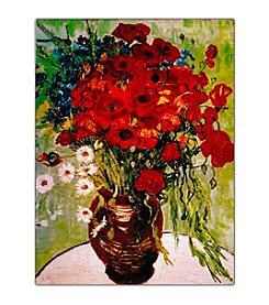 "Trademark Fine Art ""Daisies & Poppies"" by Vincent Van Gogh Framed Canvas Art"