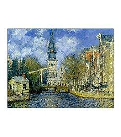 """""""The Zuiderkerk at Amsterdam"""" by Claude Monet Framed Canvas Art"""