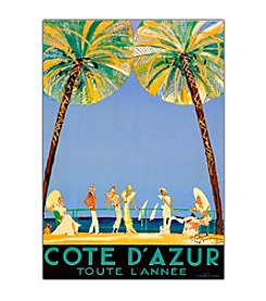 "Trademark Fine Art ""Cote D'Azur"" by Jean Dumergue Framed Canvas Art"