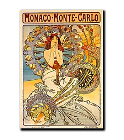 "Trademark Fine Art ""Monaco-Monte Carlo"" by Alphonse Mucha Gallery- Wrapped Canvas Art"