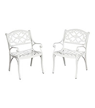 Home Styles® Set of 2 White Finish Biscayne Arm Chairs