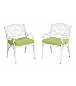 Home Styles® Set of 2 White Finish Biscayne Arm Chairs with Green Apple Cushions