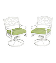 Home Styles® White Finish Biscayne Swivel Chair with Green Apple Cushion