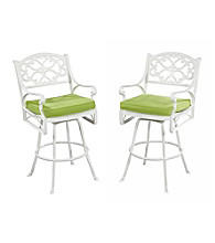 Home Styles® White Finish Biscayne Bistro Stool with Green Apple Cushion