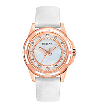 Bulova® Diamond Collection Stainless Steel Rose-Gold Ion-Plated Women's Watch