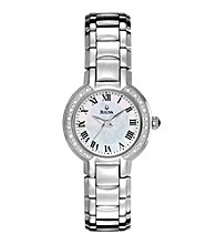 Bulova® Women's Stainless Steel and Mother of Pearl Watch