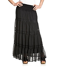 Black Rainn™ Smocked-Waist Clip-Dot Tiered Maxi Skirt